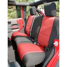 rugged ridge rear seat cover neoprene black with red centers 2 door jeep wrangler jk