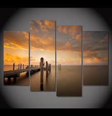 Small Picture 4 Pieces Multi Panel Modern Home Decor Framed Boating Dock Sunset