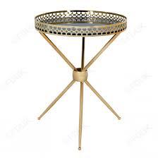 tegmine black round mirrored side table