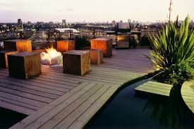 Exterior:Stunning Roof Terrace Design With Cubical Wooden Bench And Pallet  Wooden Floor Idea Good