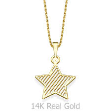 girl s jewelry pendant and necklace in 14k yellow gold star of the party