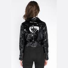 the t birds faux leather jacket wet look black thumbnail 3