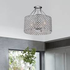 4 light round drum semi flush mount crystal chandelier chrome finish intended for elegant home semi flush mount crystal chandelier plan