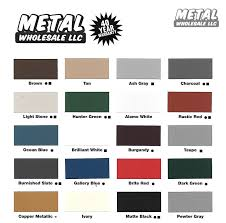 Color Chart New Metal Wholesale Llc