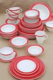 glass dinnerware sets vintage flamingo pink border milk dishes retro red white set square clear