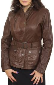 women s belted leather jacket in brown tahre main