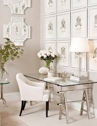 glass top office table chic. Vintage-inspired Office With A Trestle Leg Desk And Glass Tabletop For An Elegant Top Table Chic T