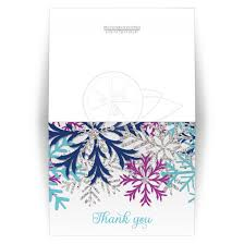snowflake thank you cards you cards turquoise navy orchid silver snowflake