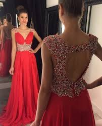 ball dresses online. promotion v-neck red chiffon with beading sweep train open back ball dresses #pls020102404 online pickedlooks