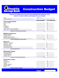 construction forms templates in pdf word excel construction budget franklin savings bank