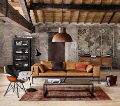 Living Room: Industrial Living Room With Brick Wall Accents - Industrial  Interior