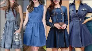 Jeans Dress Designs Most Beautiful And Outstanding Designer Denim Jeans Aline Skater Midi Dresses For Stylish Girls