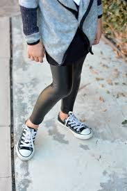 image of pop couture faux leather leggings toddler little girls big girls