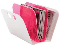 Pink Magazine Holder Magazine holder in pink and white acryl by Neon Living 97