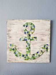 nautical sea glass anchor mosaic wall