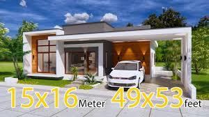 modern house plans 15x16 meter 49x53