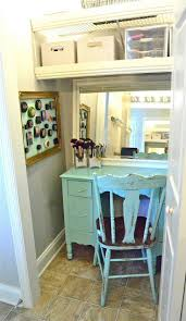 makeup vanity in closet. fair design ideas using rectangular baby blue wooden tables and white mirrors also with rectangle stacking chairs makeup vanity in closet