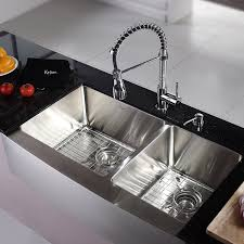 kraus khf203 36 kpf1612 ksd30ch 36 inch farmhouse double bowl stainless steel kitchen sink with chrome kitchen faucet and soap dispenser touch on kitchen