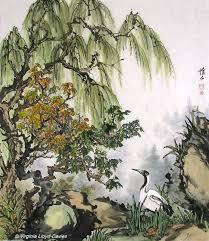 chinese brush painting of crane willow and rocks