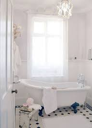 bathroom large size lovely shabby chic bathroom decor idea with small chandelier above tub feat