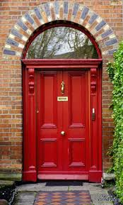 barn style front doorColonial Style Front Door Hardware Barn Entry Red Doors Glass