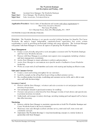 Assistant Manager Sample Resume Job Description Of Retail