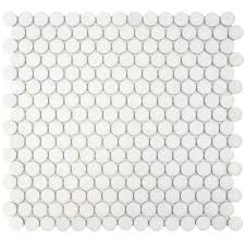 Circle Tiles Merola Tile Hudson Penny Round Glossy White 12 In X 12 5 8 In X