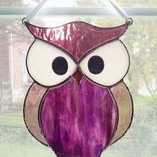 owl stained glass suncatcher purple glass owl bird orname