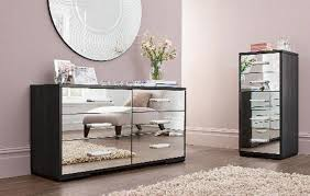 Mirrored Furniture Bedroom Round Shape Mirrored Table White Wall