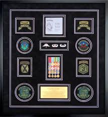 military shadow box examples featuring medals with patches