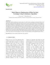 Research Paper On Heat Exchanger Design Pdf Multi Objective Optimization Of Plate Fin Heat