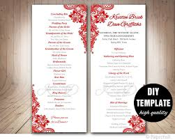 Red Wedding Program Template Instant Download Microsoft