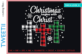 Shop cross stitch ladies christmas cross stitch halloween cross stitch birthstones & gemstones treasures of the deep gift cards downloads. Christmas Begins With Christ Plaid Cross Graphic By Tweetii Creative Fabrica
