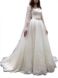 Ball Sleeves Design Fanciest Womens Off Shoulder Lace Wedding Dresses With Long