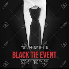 Illustration Of Black Suit Black Tie Event Invitation Template