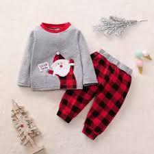Huadoaka Toddler Baby Boys Girls Christmas Santa Plaid Print Pajamas Sleepwear Outfits Reference The Size Chart