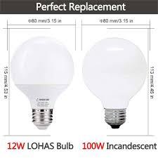 Light Bulb 100w Equivalent Led Bulbs G25 Daylight 5000k 75w 100w Equivalent Incandescent E26 Base Globe Shape 1200 Lumens Vanity Light For Bedroom 4 Pack