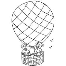 hot air balloon coloring page.  Page Two Kiddos Up In The Air Balloon Coloring Pages Throughout Hot Page O
