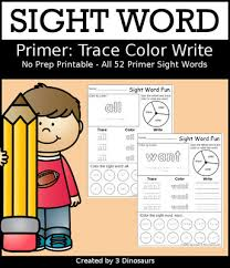 dolch primer sight word trace color and write dolch primer