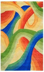 soft new zealand wool area rug 5 x 8 red orange tan blue green abstract modern