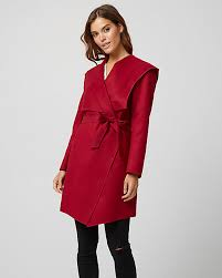 cashmere like hooded wrap coat