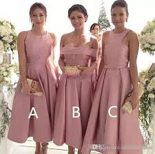 2018 Short Tea Length Blush Bridesmaid Dresses Cheap Prom Dresses Custom Made Satin Prom Party Gowns Short Maid Of Honor Dress Alexia Bridesmaid Dress