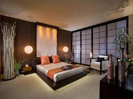 Bedroom:Enchating Classic Japanese Bedroom Decorating Ideas In Corner Space  Also Brown Wooden Bed Frame