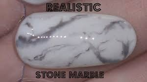 Nail Art Realistic Black and White Stone Marble Gel Polish.