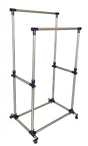 ewei s homewares rolling double garment rack rail adjule telescopic