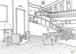 Living Room Coloring Classic Decor Large Living Room With Stairs Coloring Page Free