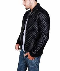 quilted style mens black leather er jacket