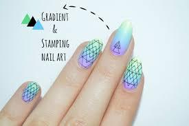 Gradient&stamping nail art - Bundle monster design - YouTube