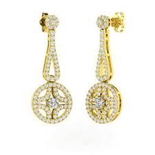 i diamond and diamond chandelier earring in 18k yellow gold