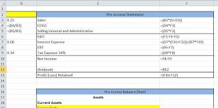excel income statement excel tutorial pro forma statement and afn definition